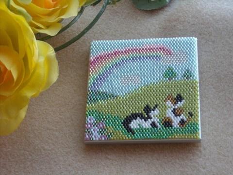 2匹の猫のコンパクトミラー・虹の彼方完成品