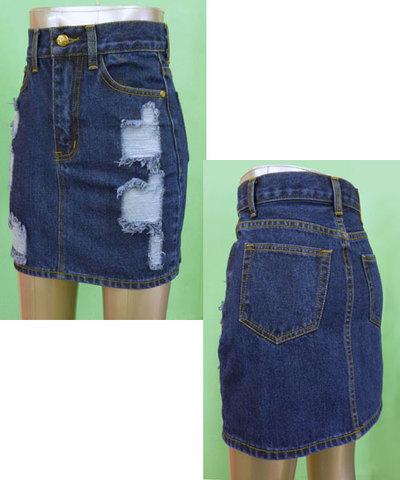 ダメージデニム ミニスカート w242396【S】3号~5号 小さいサイズ・レディース