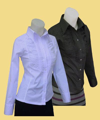 ストレッチデザインシャツw272268【S】5号 小さいサイズ・レデイース