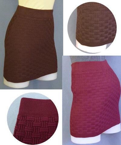 織柄ニットミニスカートw242321【S】5号 小さいサイズ・レディース