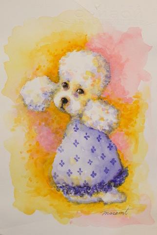 「non title Poodlew1」水彩画 18.5cm×27.1cm