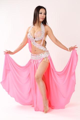 Hanan・Pinkサテンフレア・ベリーダンス衣装フルコスチューム