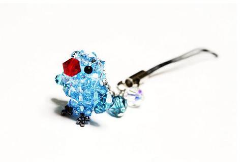 ワカケホンセイインコ(♀)             (ブルー)              4等兵ロングストラップ