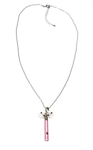 【災害時用】ホイッスルネックレス&ストラップ                   オカメインコ(ホワイト)pink