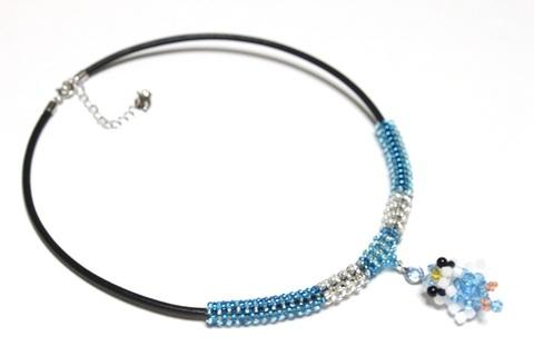 セキセイインコ(ブルー)                レザーネックレス