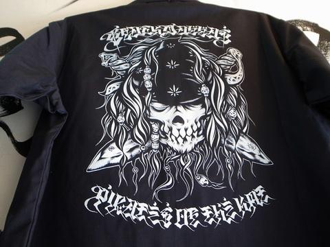 "BLACKDALLAS/ブラックダラス""KMT PIRATES""(NAVY)半袖ワークシャツArtwork by USUGROW"