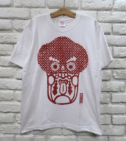 唐人さま Tシャツ(白x血ダラ真っ赤)・WOODBRAIN/水面花木工