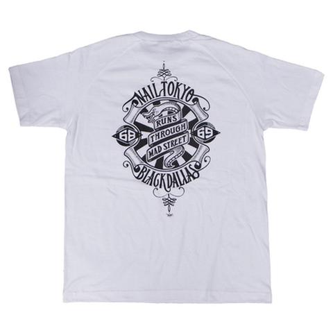 "NAIL TOKYO × BLACK DALLAS(ネイル × ブラックダラス)""68/69"" ラグランTシャツ(ホワイト)"