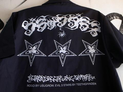 "BLACKDALLAS/ブラックダラス""EVIL3STARS""(NAVY)半袖ワークシャツArtwork by USUGROW&TEETHGRINDER"