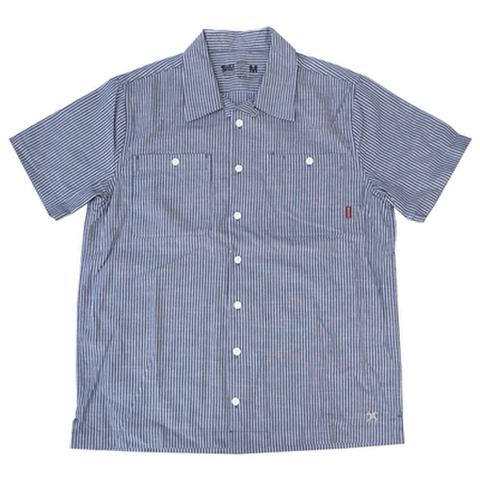 "BLUCO(ブルコ)""STANDERD WORK SHIRTS S/S"" 半袖ワークシャツ(ネイビーストライプ)"