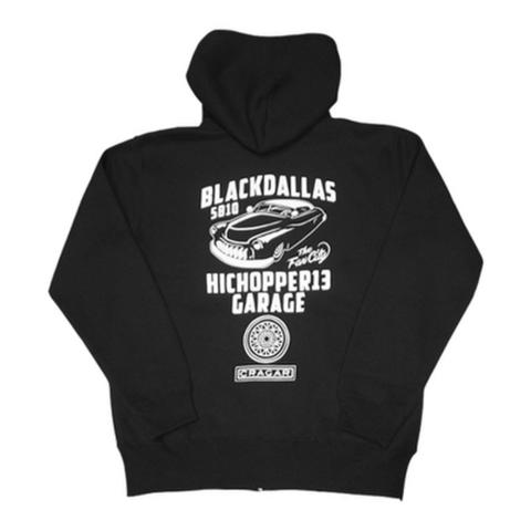 "HICHOPPER 13 GARAGE × BLACK DALLAS(ハイチョッパー13 × ブラックダラス)""Mercury"" パーカー(ブラック)"