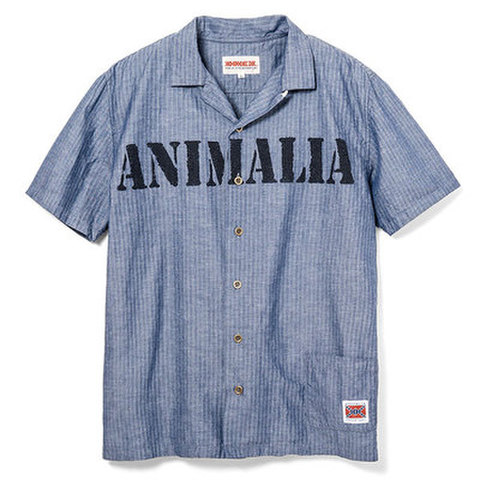 "ANIMALIA(アニマリア)""BRIGADE-stencil"" 半袖シャツ(ネイビー)"