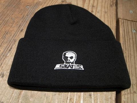 スカルスケーツSKULLSKATES/ベーシック刺繍ロゴ折り返しニット帽(BLACK)