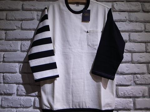 Vin&Age クロップドTシャツ・7分丈(アイボリー)ポケット付き