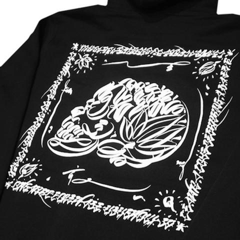 """ORGANIC CONTRAST(オーガニックコントラスト)""""LIFE SKULL"""" ジップパーカー(ブラック)Art work by USUGROW(ウスグロ)"""