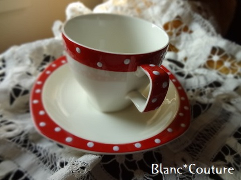 ドット柄コーヒーカップ&ソーサー