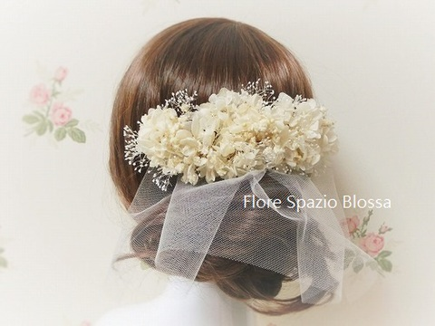【オーダーメイド受付】花嫁様のためのチュールのヘアードレス プリザーブドフラワー