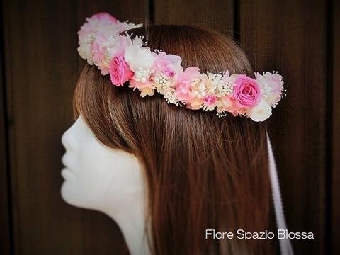 HR-54★ピンク・ホワイトの花冠 グラデーション