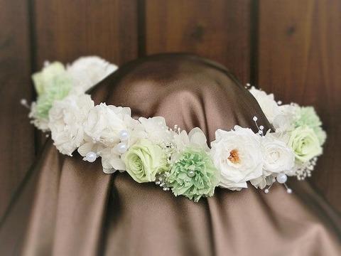 HR-46 フレッシュグリーン&ホワイトの花冠