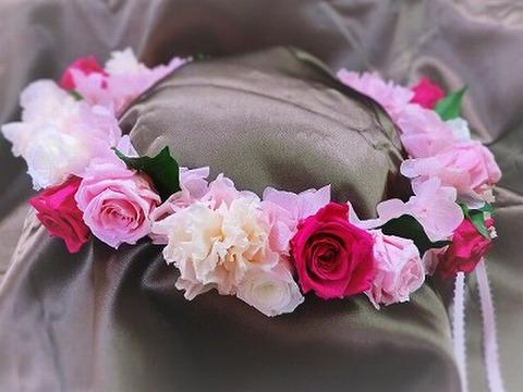 HR-24★ピンク系グラデーション・薔薇とカーネの花冠