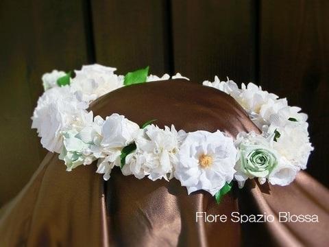 HR-38★パールとバラの花冠(ホワイト&ミントG