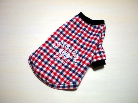 SSサイズのみ☆赤チェック柄ラグランTシャツ
