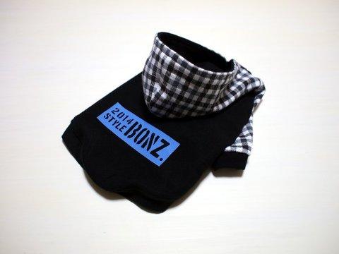 Sサイズのみ☆モノトーンチェック柄ラグランTシャツ