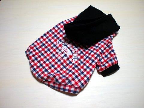 Mサイズのみ☆赤チェック柄ラグランTシャツ