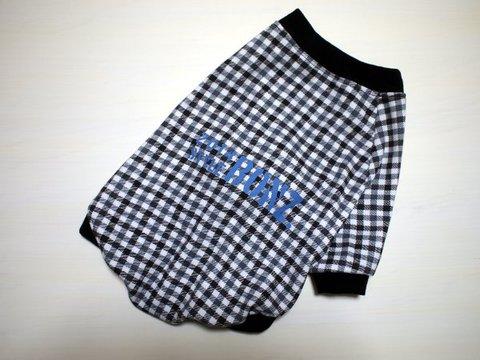 Lサイズのみ☆モノトーンチェック柄ラグランTシャツ