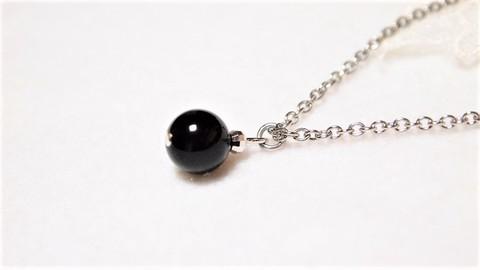 ステンレスチェーン★モリオン(黒水晶)のシンプル一粒ネックレス