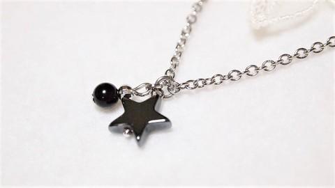 ステンレスチェーン【霊的防御・厄除け】モリオン(黒水晶)・ヘマタイトの流れ星ネックレス