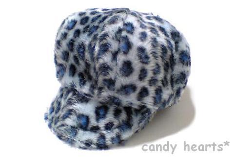 青の豹柄ファー(Mキャスケット)