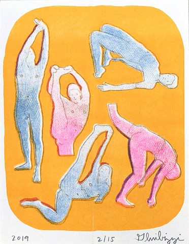 Untitled, 2019 (orange dance) Riso print by Dan Gluibizzi