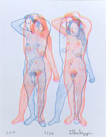 Untitled, 2019 (man+woman) Riso print by Dan Gluibizzi