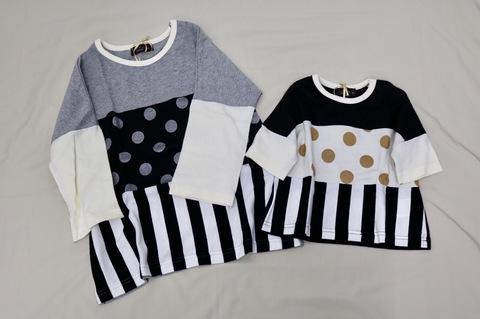 kidsドットストライプ切り替え五部袖Tシャツ/unica