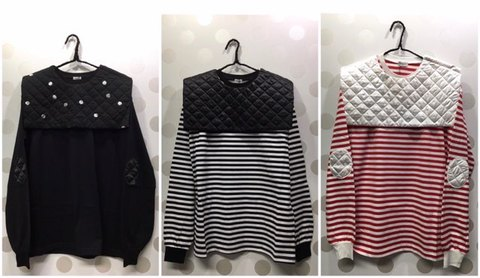 (woman) REMOVABLE QUILTING SAILOR COLLAR L/S TEE /frankygrow