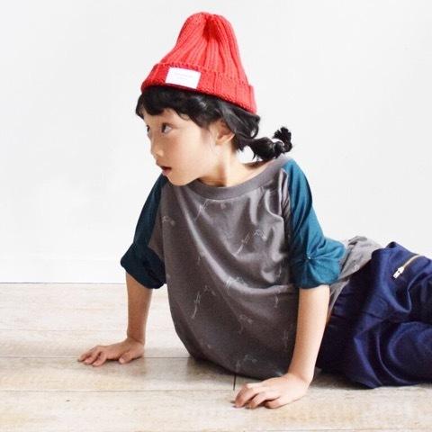 kids メモリープリント ロールアップスリーブT /nunuforme