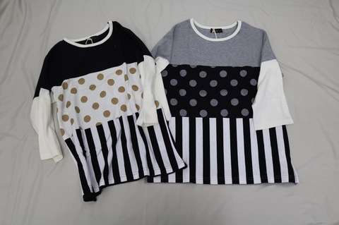 adultドットストライプ切り替え五部袖Tシャツ/unica