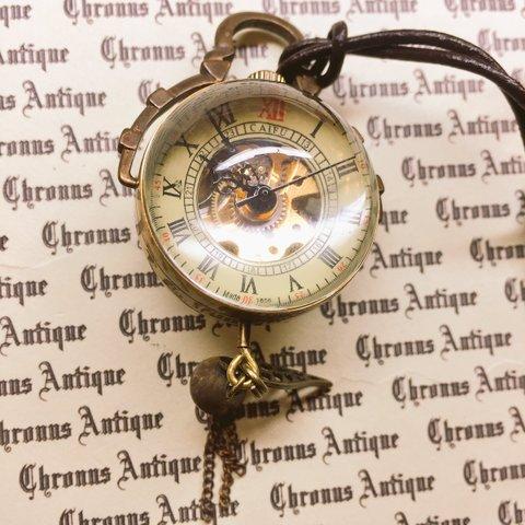 958.手巻き式懐中時計(金古美・球体時計・金古翼)