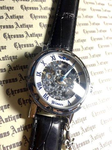 818.自動巻きスケルトン腕時計(ホイール白顔青文字)