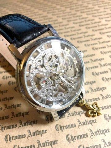 803.手巻きスケルトン腕時計(銀顔黒ベルト)