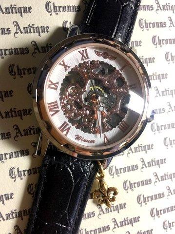 817.手巻きスケルトン腕時計(ホイール白顔ピンクゴールド文字)