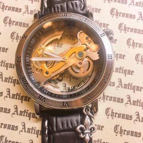 827α.手巻きスケルトン腕時計(斜め一列ムーブメント)