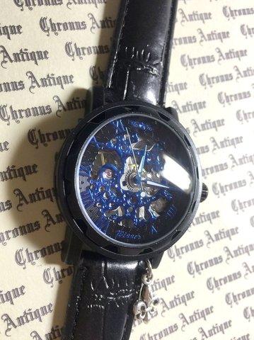 819.自動巻きスケルトン腕時計(ホイール黒顔青文字)