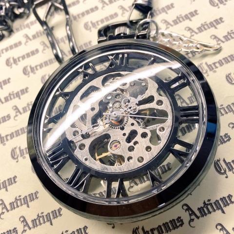 957.手巻き式懐中時計(クローム・全スケ銀ムーブ・銀翼)