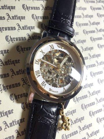 820.自動巻きスケルトン腕時計(ホイール白顔金文字)