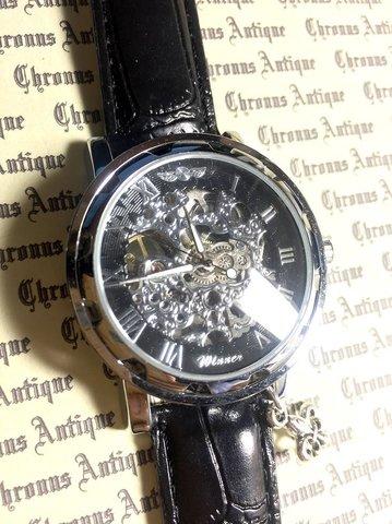 808.自動巻きスケルトン腕時計(黒顔銀淵黒ベルト)