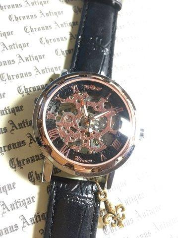 816.手巻きスケルトン腕時計(ホイール黒顔ピンクゴールド文字)