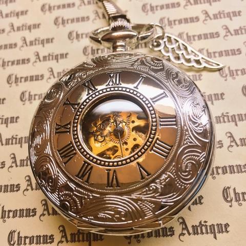 953.手巻き式懐中時計(シルバー・両開き・銀翼)