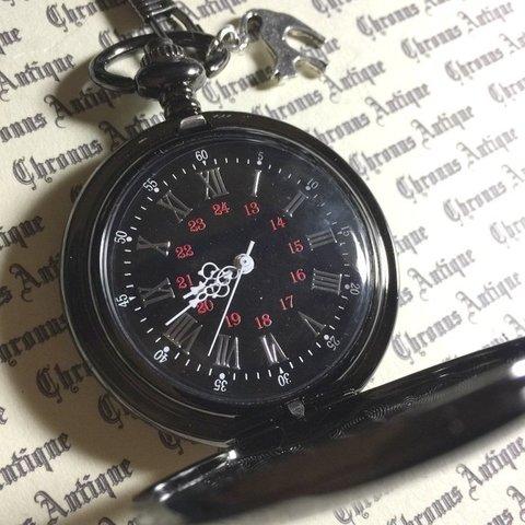 943.手巻き式懐中時計(クローム・シンプル24時・銀猫)